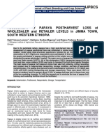 ASSESSMENT of PAPAYA POSTHARVEST LOSS at WHOLESALER and RETAILER LEVELS in JIMMA TOWN, SOUTH WESTERN ETHIOPIA