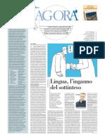 """Avvenire - Recensione de """"La Lingua Disonesta"""" di Edoardo Lombardi Vallauri"""