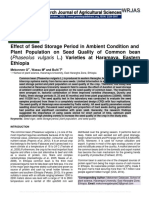 Effect of Seed Storage Period in Ambient Condition and Plant Population on Seed Quality of Common bean (Phaseolus vulgaris L.) Varieties at Haramaya, Eastern Ethiopia