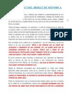 COMUNICAT DEL BISBAT DE MENORCA