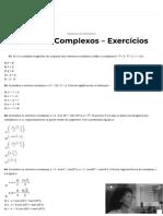 Números Complexos Lista com 10 Exercícios Resolvidos - Cola da Web