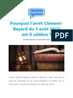 Pourquoi l'Arrêt Clément-Bayard Du 3 Août 1915 Est-il Célèbre