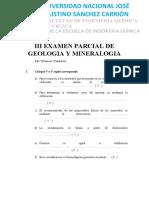 III EXAMEN PARCIAL DE GEOLOGIA Y MINERALOGIA