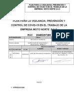 PLAN PARA LA VIGILANCIA, PREVENCIÓN Y CONTROL DE COVID-19 EN EL TRABAJO DE LA EMPRESA  MOTO NORTE S.A.C