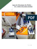Travaux Pratiques de Mécanique des fluides Pompes