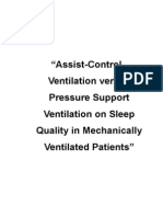 """""""Assist-Control Ventilation versus Pressure Support Ventilation on Sleep Quality in Mechanically Ventilated Patients"""""""