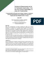 Impact de la décision de financement sur la performance de l'entreprise marocaine