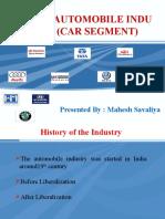 Indian Automobile Industry (Car Segment) by Mahesh Savaliya