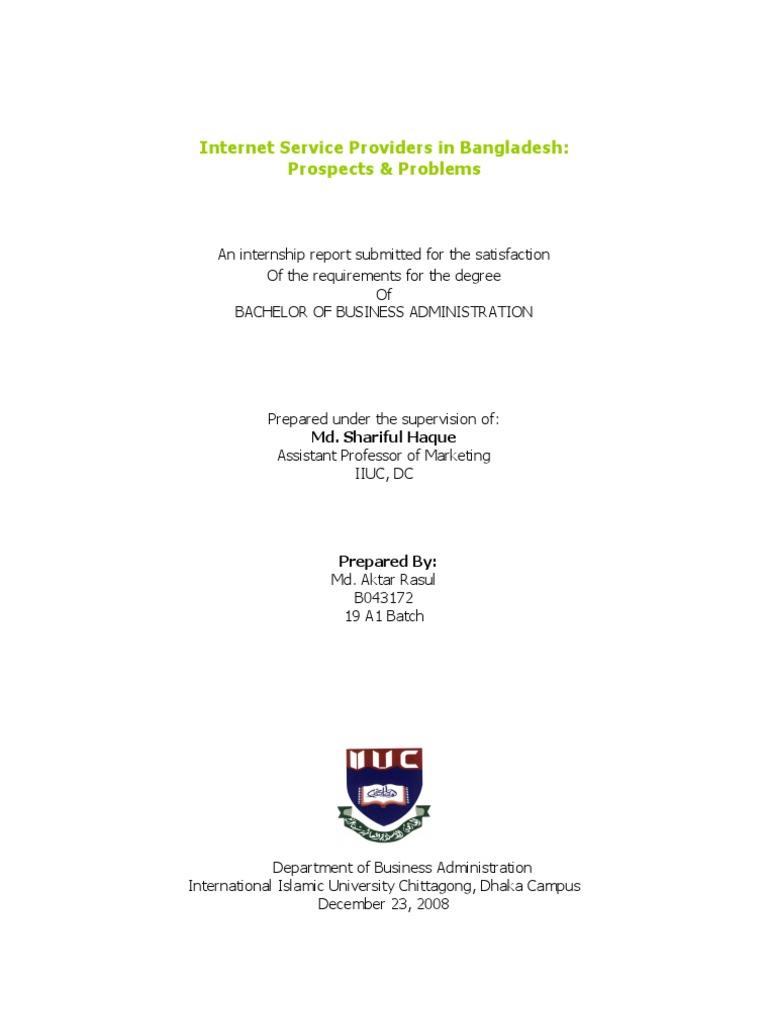 Internship Report | Internet Access | Broadband