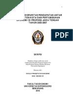 ANALISIS DISPARITAS PENDAPATAN ANTAR KAB.KOTA & PERTUMBUHAN EKONOMI PROV.JATENG TH.2003-2007