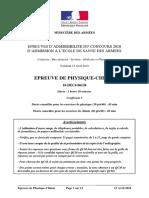 ESA 2018 Sujet principal physique chimie (énoncé) 18-DEC4-06138