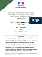 ESA 2019 Sujet Ph Chimie