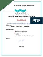 DETERMINACION DEL CONTENIDO DE ÁCIDO ACÉTICO EN VINAGRE MEDIANTE TITULACIÓN POTENCIOMETRICA- practica N°7
