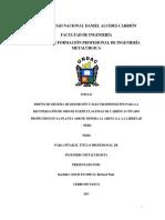 Diseño de sistema de desorción y electrodeposición para la recuperación de oro de partículas finas de carbón activado producidos en la planta ADR de minera La Arena S.A. La libertad-Perú