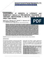 ASSESSMENT of GROWTH in LITERACY and NUMERACY SKILLS of PRE-SERVICE TEACHERS in TERTIARY INSTITUTIONS in DELTA STATE, in their FIRST TWO YEARS.