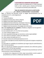 Convocatoria a Elecciones Del Municipio Escolar - 2020