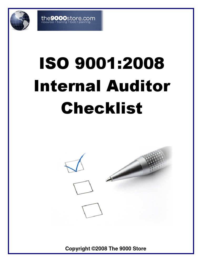 Iso 9001 internal audit checklist audit iso 9000 pronofoot35fo Images