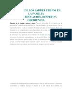 DEBERES DE LOS PADRES E HIJOS EN LA FAMILIA