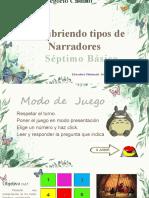 JUEGO  TIPOS DE NARRADORES SEPTIMO