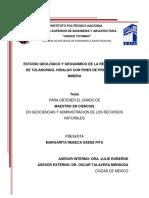 Estudio geológico y geoquímico de la región Norte de Tulancingo, Hidalgo con fines de prospección minera..pdf
