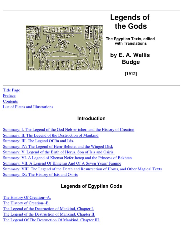 budge, e a wallis - legends of the gods | osiris | egyptian mythology