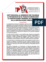 CGTP denuncia DU 127-2020