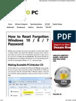 How to Reset fotgotten windows 10-8-7 password