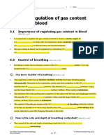 Regulation of gas content in blood