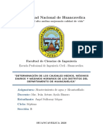 DETERMINACIÓN DE LOS CAUDALES MEDIOS, MÁXIMOS DIARIOS Y MÁXIMOS HORARIOS DE LOS DISTRITOS DEL DEPARTAMENTO DE HUANCAVELICA