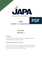 LA COMUNICACION UNIDAD I ESPAÑOL I
