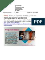 Espanhol Profª Ana Claudia Nestorzine mês novembro