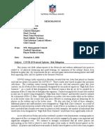 NFL COVID-19 protocols memo