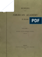 Memoirs of American Academy in Rome. Vol I