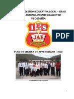 PLAN DE MEJORA DE APRENDIZAJES - IE 2020