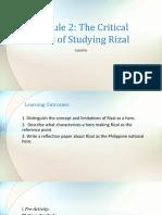 Module 2 the Critical Basis of Studying Rizal