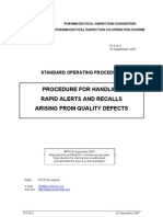PICS - Procedure For Handling Rapid Alerts & Recalls Arising From Quality Defects