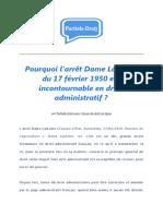 Pourquoi l'Arrêt Dame Lamotte Du 17 Février 1950 Est Incontournable en Droit Administratif