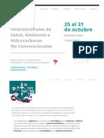 Jornadas Internacionales de Salud, Ambiente e Hidrocarburos No Convencionales. Programa
