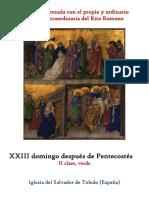 XXIII Domingo Después de Pentecostes. Propio y Ordinario de la santa misa