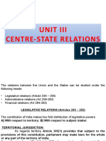 Unit III-Centre -State Relations -Legislative Relations