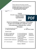 Etude des métabolismes terpénique et flavonique d'espèces de la famille des composées, genres Chrysanthemum et Rhantherium. Activité Biologique.