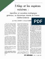 le pin d'Alep et les espèces • • vOIsines • • répartition et caractères écologiques , , generaux, sa dynamique récente en France méditerranéenne