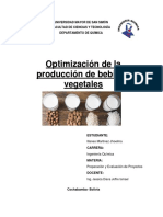 Optimización de la producción de bebidas vegetales