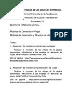 13 Tarea,  Resumen de Modelos de De Demanda de Viajes INGENIERIA DE TRANSITO.