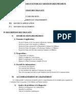 CAHIER DE CHARGE D'ETUDE DE PROJETS