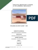RESTAURANTE BUEN SABOR PLAN DE VIGILANCIA COVID 2020