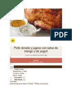 Pollo dorado y jugoso con salsa de mango y de yogurt