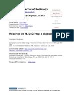 European Journal of Sociology Volume 11 issue 2 1970 [doi 10.1017_S0003975600002149] Devereux, Georges -- Réponse de M. Devereux a monsieur conté.pdf