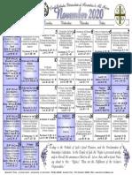 2020 November Festal Calendar