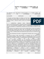 Recurso Disciplinar  - EFEITOS